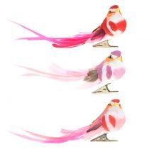 Vogel am Clip Pink, Rosa 15cm 12St