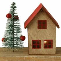 Weihnachtsdorf mit LED-Beleuchtung Natur, Rot Holz 40×10,5×7cm
