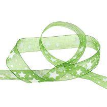 Weihnachtsband Grün mit Sternmuster 25mm 20m
