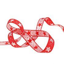 Weihnachtsband mit Sternen Rot 15mm 20m