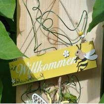 Willkommensschild mit Biene, Holzdeko, Bienendeko zum Hängen, Willkommen, Türschild 4St