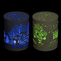 LED Laterne mit Wintermotiv Ø7,5cm H11cm 2St