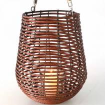 Kerze im Korb, Windlicht mit Henkel, Kerzendeko, Korb-Windlicht Ø24cm H34cm