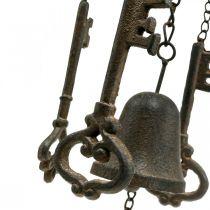 Windspiel Schlüssel und Glocke Gusseisen H78cm