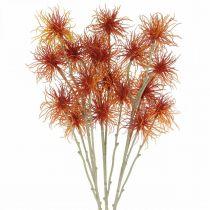 Xanthium Kunstblume Herbstdeko Orange 6 Blüten 80cm 3St