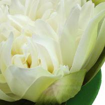 Künstliche Lotusblüte Creme 13cm 4St