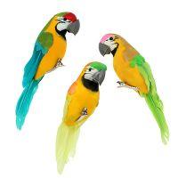 Papagei mit Clip bunt 15cm 12St