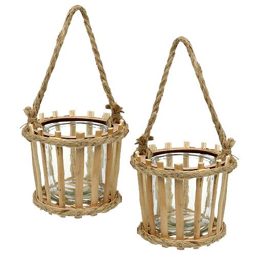 bambuskorb mit glas zum h ngen 14cm h13cm 2st kaufen in. Black Bedroom Furniture Sets. Home Design Ideas