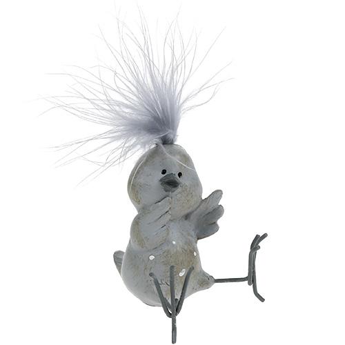 deko vogel grau mit federn als set 8cm 4st kaufen in schweiz. Black Bedroom Furniture Sets. Home Design Ideas