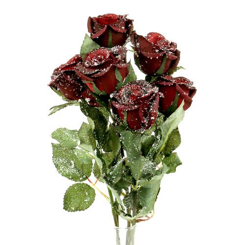 deko rose rot beschneit 6cm 6st kaufen in schweiz. Black Bedroom Furniture Sets. Home Design Ideas