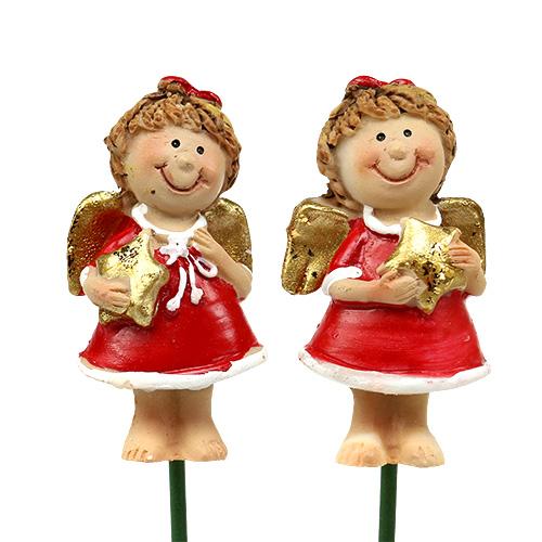Dekostecker engel rot wei 4 5cm l28cm 8st kaufen in schweiz for Dekostecker weihnachten