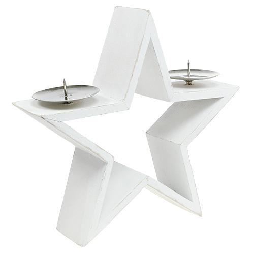 holzstern mit 2x kerzenhalter wei kaufen in schweiz. Black Bedroom Furniture Sets. Home Design Ideas