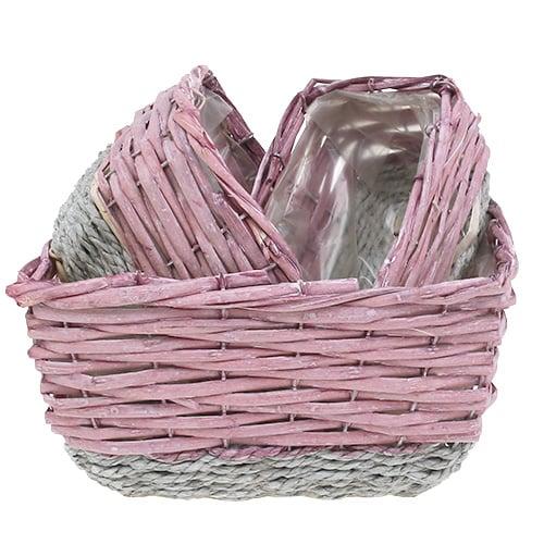 korb eckig 3er set rosa natur kaufen in schweiz. Black Bedroom Furniture Sets. Home Design Ideas