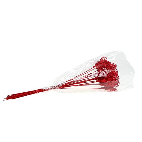 Rattanherz am stab rot 7cm l45cm 18st kaufen in schweiz - Rote wohnzimmerwand ...