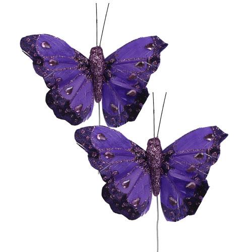 deko schmetterlinge mit strass violett 8cm 6st kaufen in. Black Bedroom Furniture Sets. Home Design Ideas