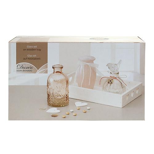 tischdeko holztablett mit glas wei rosa kaufen in schweiz. Black Bedroom Furniture Sets. Home Design Ideas