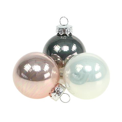 Weihnachtskugel glas 3 5cm rosa grau creme 16st kaufen in schweiz - Christbaumkugeln grau ...