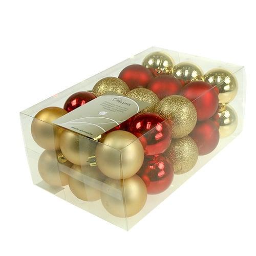 weihnachtskugeln gold rot mix kunststoff 6cm 30st kaufen in schweiz. Black Bedroom Furniture Sets. Home Design Ideas
