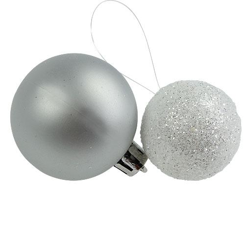 weihnachtskugel plastik wei silber 3 5 4 5cm 30st kaufen. Black Bedroom Furniture Sets. Home Design Ideas