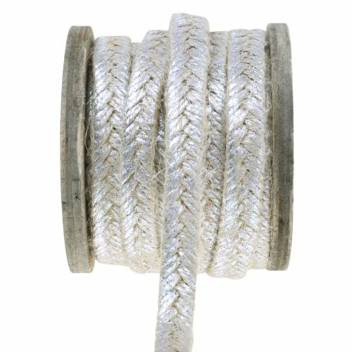 Kordel Breit Jute Silber 10mm 4m