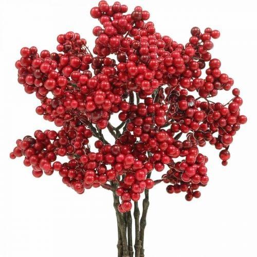Deko Zweig mit roten Beeren Beerenzweig Herbstdeko 26cm 6St