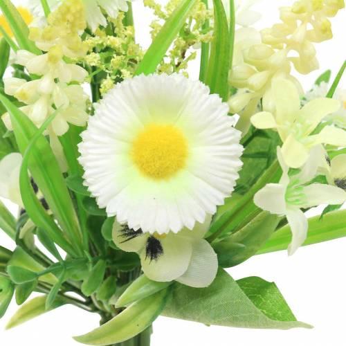 Frühlingsstrauß mit Bellis und Hyazinthe künstlich Weiß, Gelb 25cm