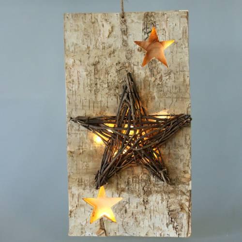 Weihnachten Schild Birke mit LED-Stern/Batterien 40cm
