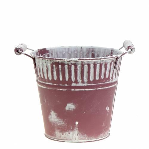 Blecheimer Lila weiß gewaschen Ø15cm H14,5cm 1St