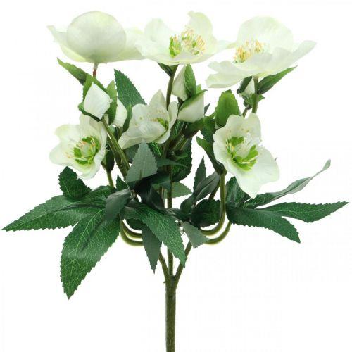 Christrosen Weiß Dekostrauß Kunstblumen Weihnachtsgesteck 27cm