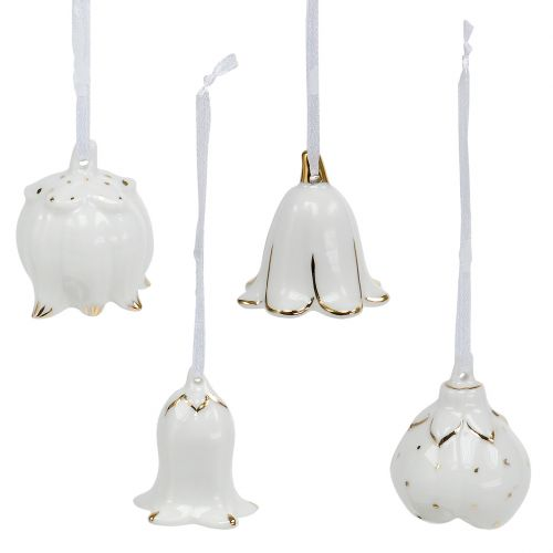 Deko Glöckchen in Blütenform Weiß, Gold 4St