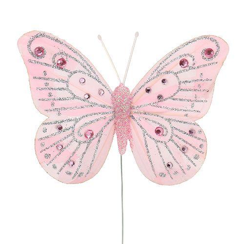 Deko Schmetterling Rosa mit Glimmer 10,5cm 3St