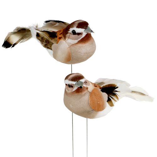 Deko-Vogel zum Stecken Braun 10cm 12St