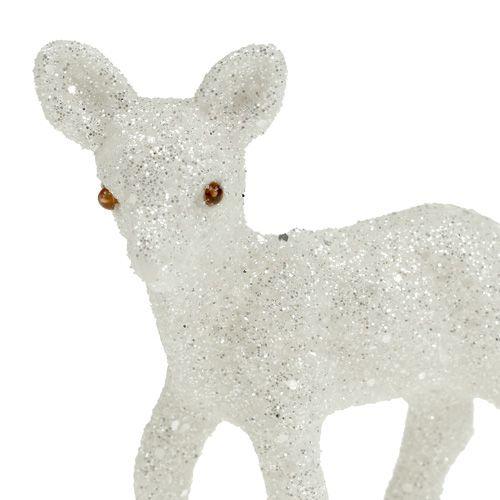 deko reh 7cm wei mit glitter 6st kaufen in schweiz. Black Bedroom Furniture Sets. Home Design Ideas
