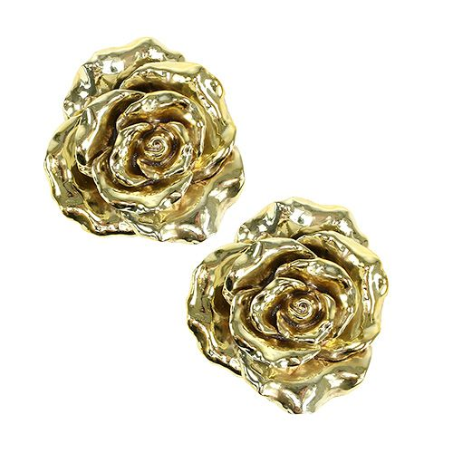 deko rose 12cm gold gl nzend 4st kaufen in schweiz. Black Bedroom Furniture Sets. Home Design Ideas