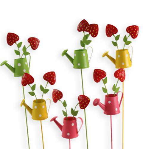 deko gie kanne mit erdbeeren am stab 6 st billig kaufen. Black Bedroom Furniture Sets. Home Design Ideas