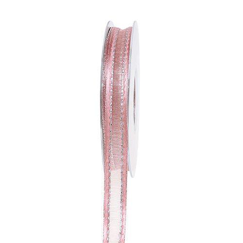 Dekoband Rosa mit Lurexstreifen in Silber 15mm 20m