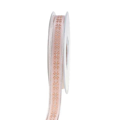 Dekoband mit Muster Rosa 15mm 20m