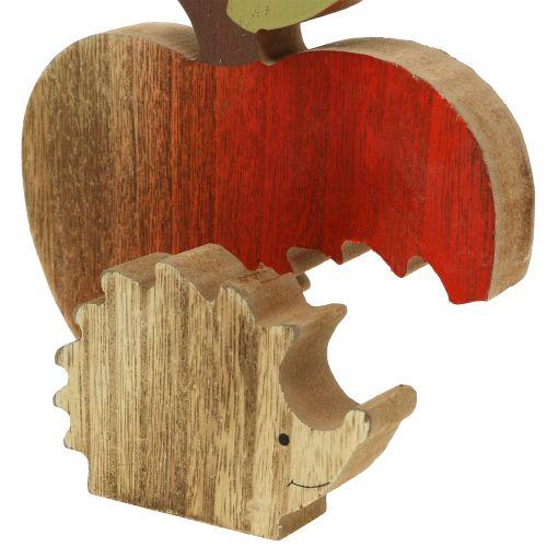 Dekofigur Apfel mit Igel Rot, Natur 13cm 3St