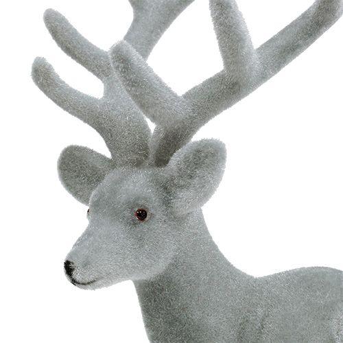 Dekofigur Hirsch Beflockt Grau 22cm 3st Kaufen In Schweiz