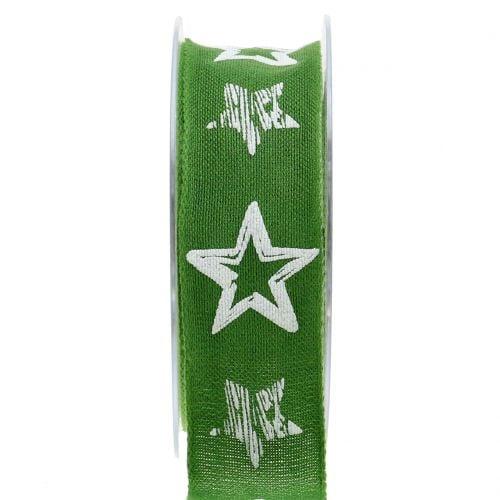 Dekorationsband Jute mit Sternmotiv Grün 40mm 15m
