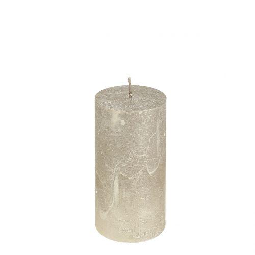 Durchgefärbte Kerzen Platin 50x100mm 4St