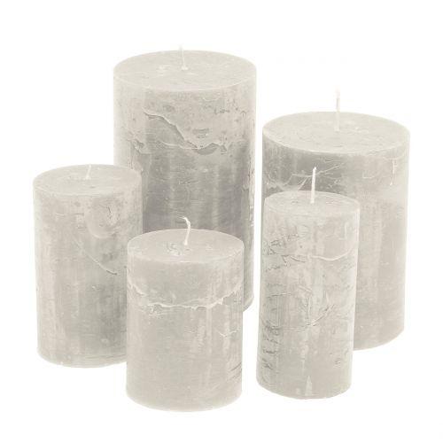 Durchgefärbte Kerzen Grau unterschiedliche Größen