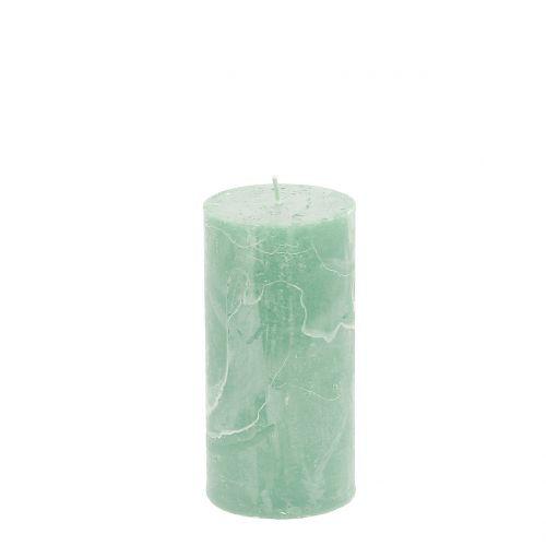 Durchgefärbte Kerzen Hellgrün 50x100mm 4St