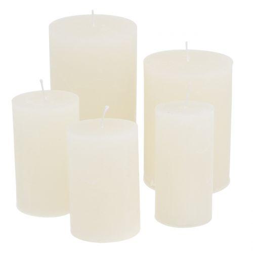 Durchgefärbte Kerzen Weiß unterschiedliche Größen