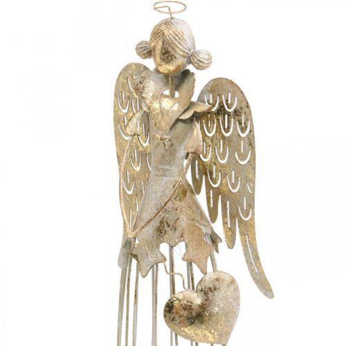 Engelfigur mit Herz, Weihnachtsdeko aus Metall, Deko Engel Antik-Golden H38cm