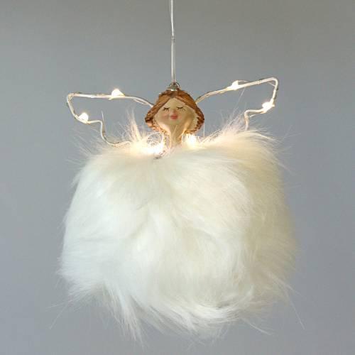 Engel Plüsch / Keramik mit LED Weiß 13cm