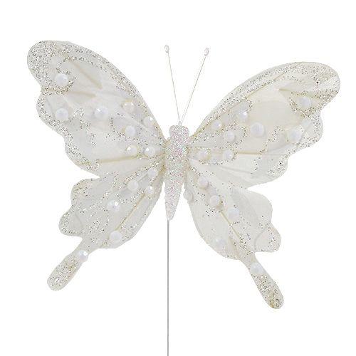 Federschmetterling Weiß mit Glimmer 11cm 3St