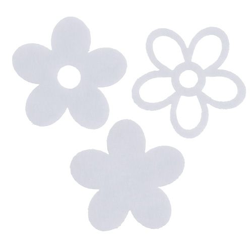 Filzblume zum Streuen Weiß im Deko-Mix Ø4cm 72St