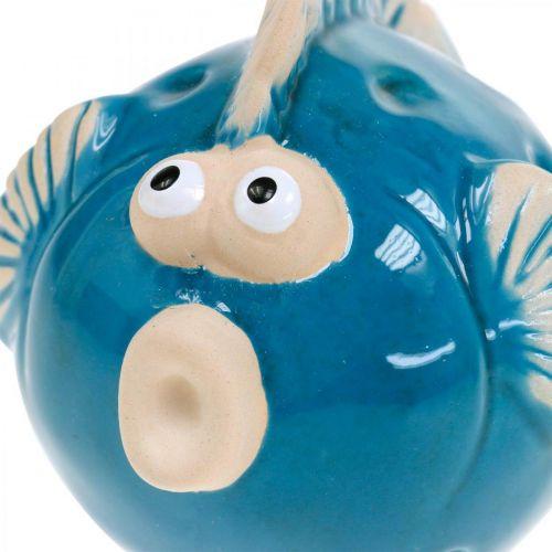 Keramikfisch, Maritim, Deko-Fisch Blau L11,5 4St