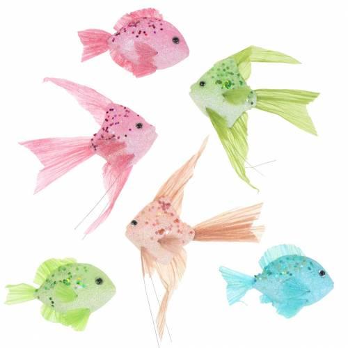 Deko-Fische zum Hängen Grün Rosa Orange Blau 13-24cm 6St